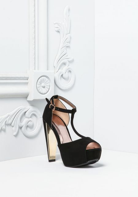 Black Suedette T-Strap Ankle Heels
