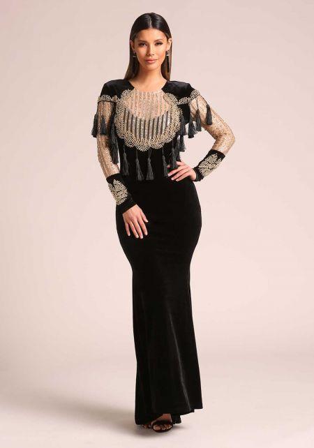 Gold and Black Velvet Stud Tassel Glitter Maxi Gown