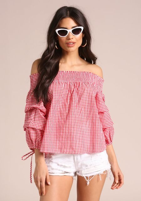 Red Gingham Puff Sleeve Blouse