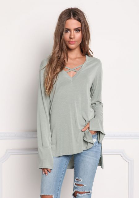 Sage Cross Strap Hi-Lo Knit Top