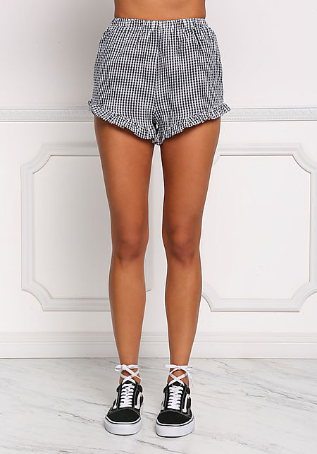 Black and White Gingham Ruffle Shorts