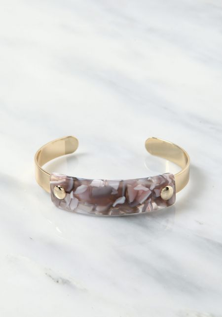 Grey Thick Resin Cuff Bracelet