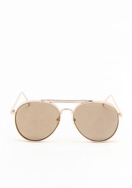 Gold Thick Aviator Mirrored Sunglasses