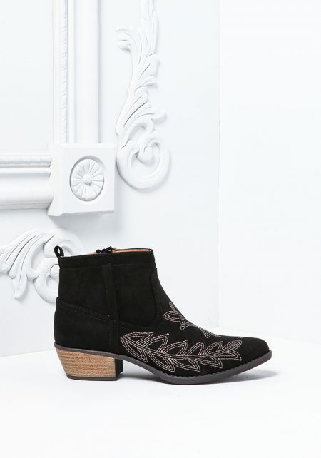 Black Suedette Leaf Stitched Booties