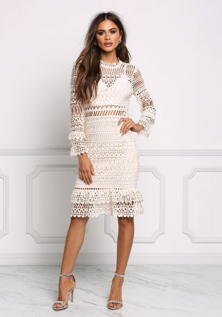 Cream Crochet Embroidered Layered Ruffle Dress