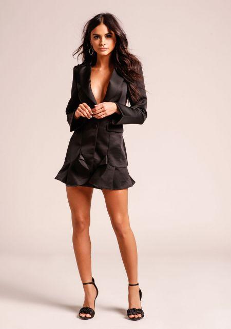 Black Plunge Tuxedo Ruffle Dress