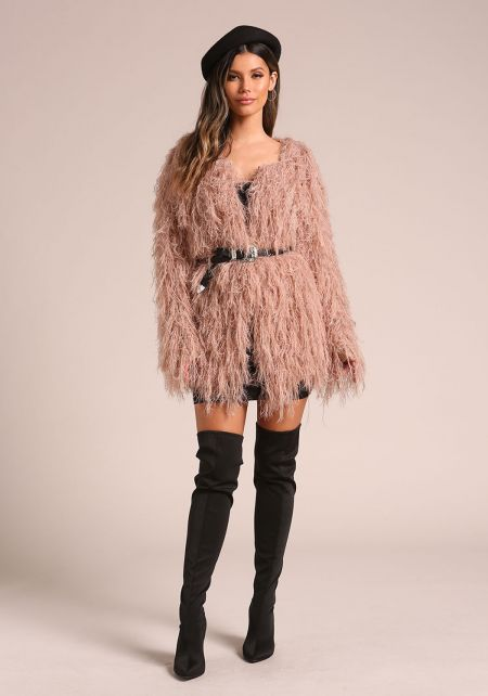 Mauve Shaggy Knitted Coat