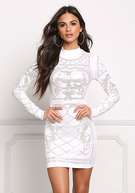 White Beaded Bodycon Dress