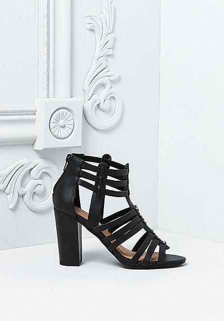 Black Leatherette Studded Multi Strap Heels