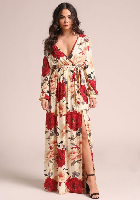 Cream Rose Faux Wrap Slit Maxi Dress