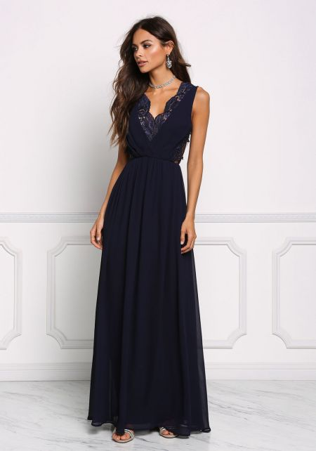 Navy Lace Trim Chiffon Maxi Gown