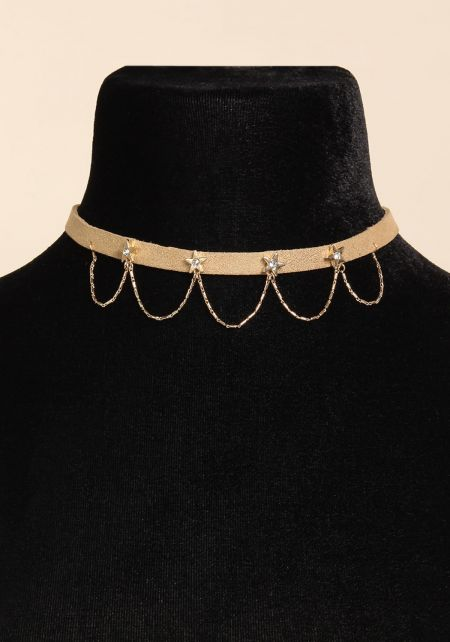 Gold Draped Rhinestone Star Choker