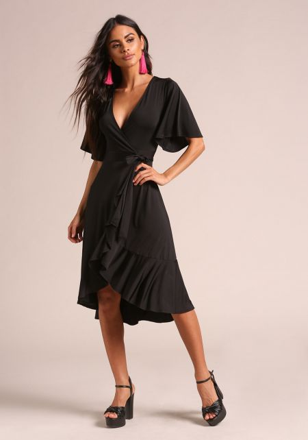 Black Lustrous Ruffle Wrap Dress