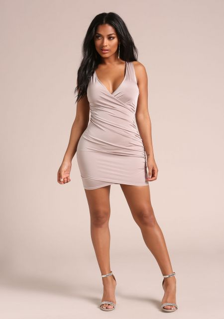 Taupe Back Cross Over Ruched Bodycon Dress