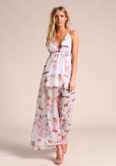 Lilac Cupid Floral Cross Strap Maxi Dress