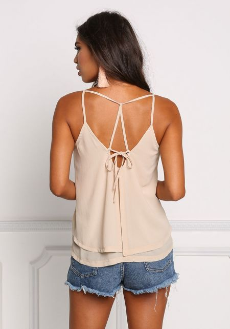 Taupe Layered Multi Strap Tank Top