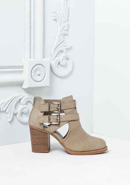 Stone Leatherette Strappy Buckle Ankle Booties