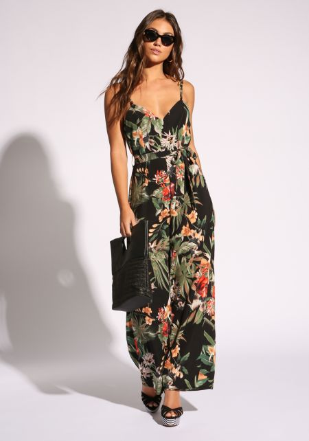 Black Tropical Floral Low V Jumpsuit