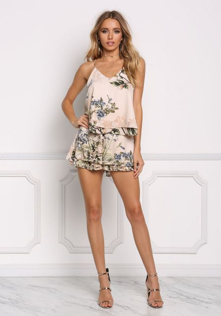 Taupe Floral Layered High Rise Shorts