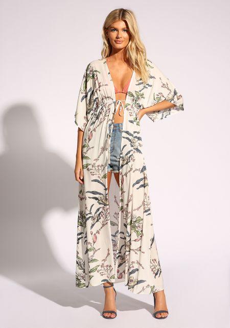 Off White Floral Waist Tie Kimono