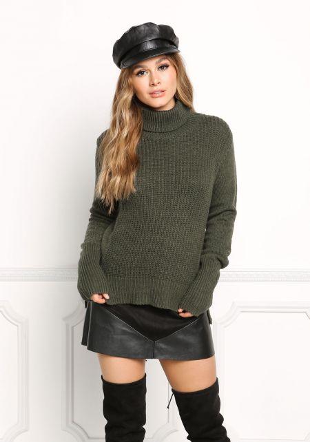 Olive Turtleneck Sweater Top