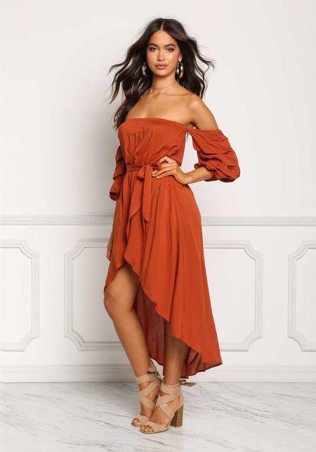 Rust Off Shoulder Ruched Hi-Lo Maxi Dress