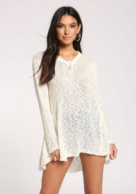 Cream Hi-Lo Sweater Top