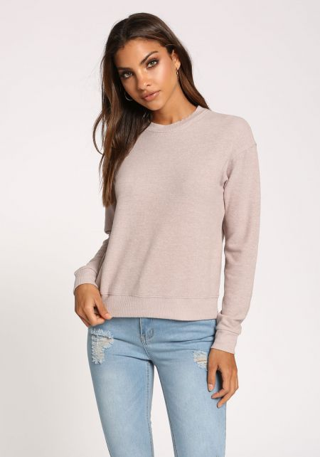 Taupe Soft Knit Sweater Top