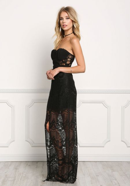 Black Lace Bustier High Slit Maxi Dress