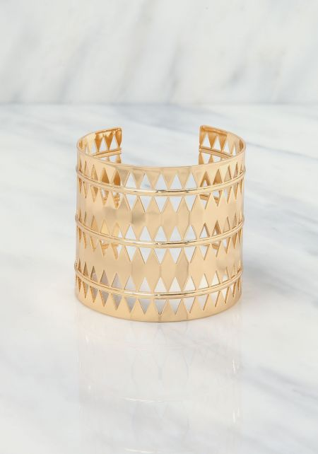Gold Diamond Laser Cut Cuff Bracelet