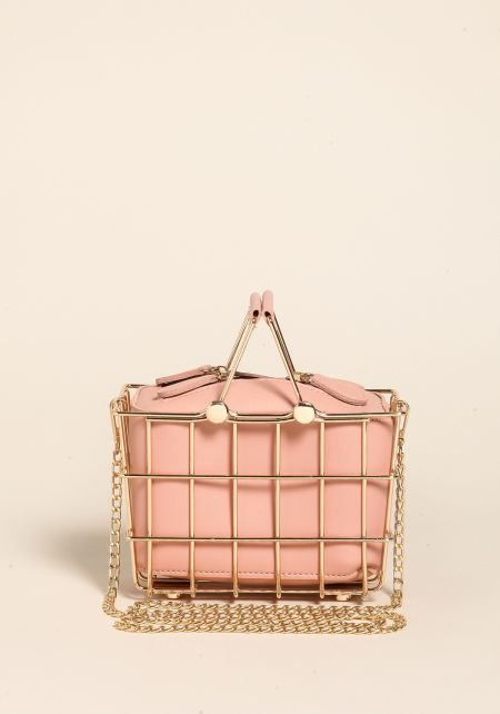 Pink Caged Leatherette Crossbody Bag