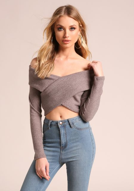 Mocha Soft Ribbed Knit Cross Over Crop Top