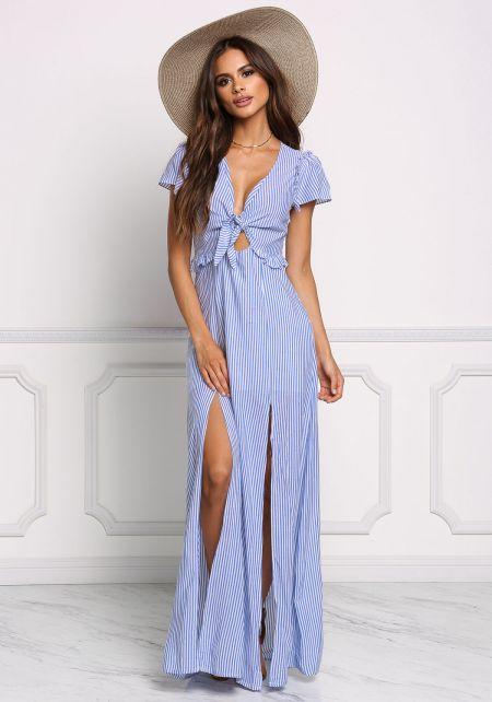 Chambray Pinstripe Two Slit Maxi Dress