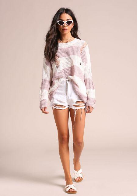Mauve Distressed Stripe Sweater Top