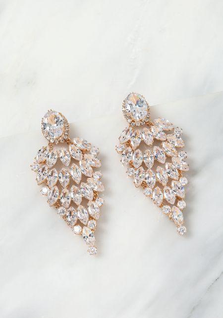 Gold Teardrop Rhinestone Chandelier Earrings