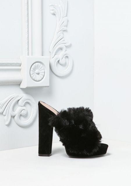 Black Fuzzy Faux Fur Mule Heels