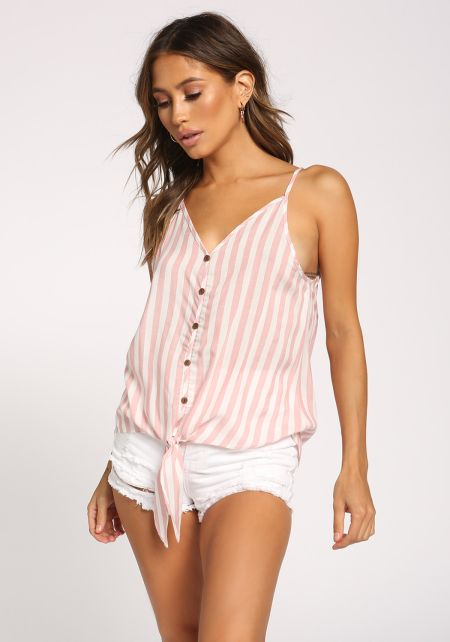 Pink Stripe Tie Front Tank Top