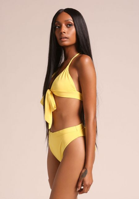 Yellow High Waist Swimsuit Bikini Bottoms