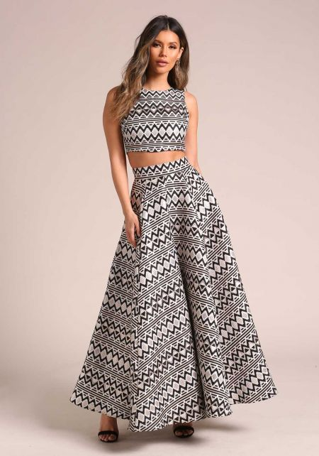 Multi Metallic Geometric Print Flared Maxi Skirt