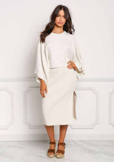 Ivory Thick Sweater Knit Slit Skirt