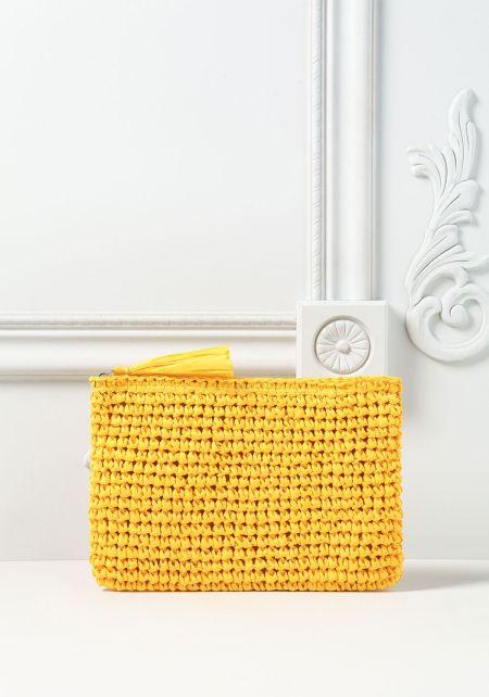 Yellow Woven Tassel Clutch