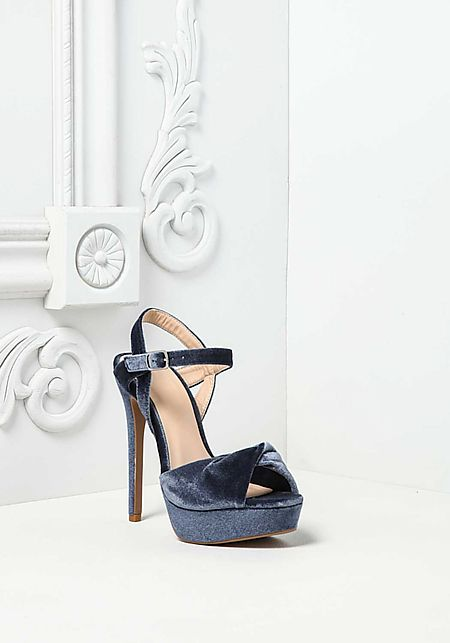 Blue Velvet Twisted Ankle Strap Heels