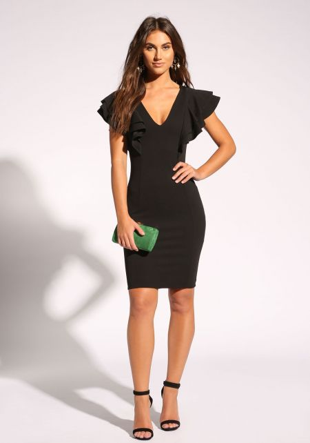 Black Ruffle Tiered Bodycon Dress
