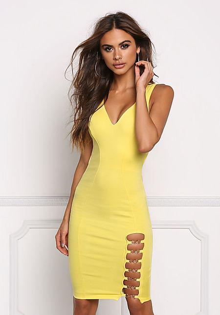 Yellow Chain Slit Open Back Bodycon Dress