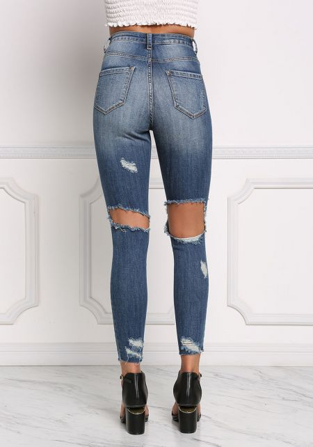 Denim Cut Out Distressed Skinny Jeans