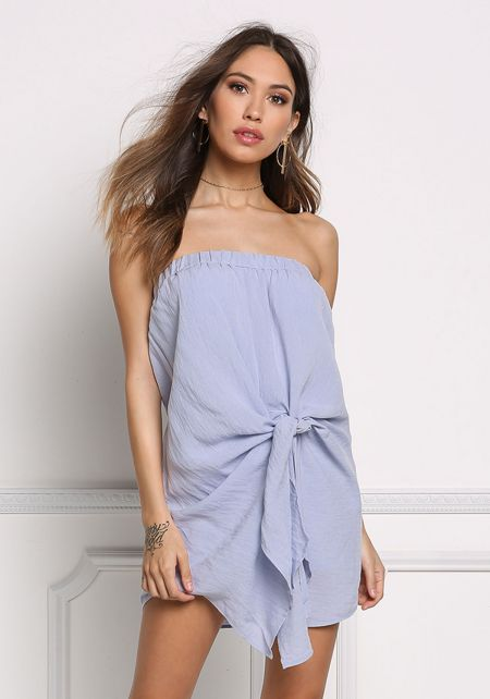 Chambray Twisted Strapless Shift Dress