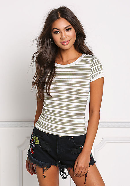 Sage Stripe Ribbed Knit Tee