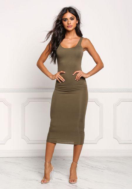 Olive Midi Bodycon Dress