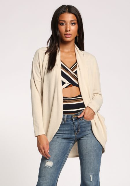 Oatmeal Open Front Soft Knit Cardigan