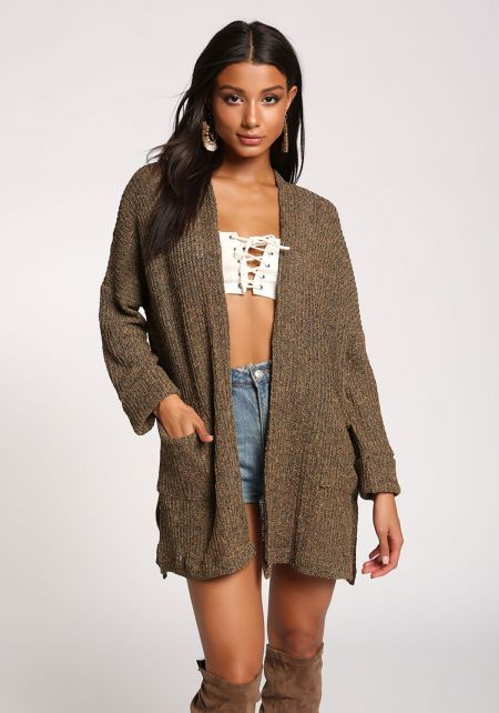 Brown Purl Knit Side Slit Pocket Cardigan